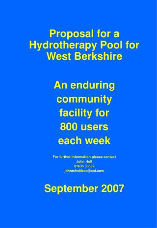 Proposal for a Hydrotherapy Pool for West Berkshire