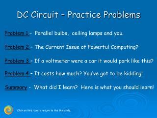 DC Circuit   Practice Problems