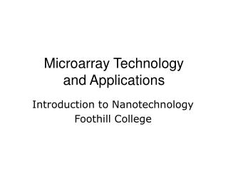 Microarray Technology and Applications
