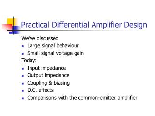 Practical Differential Amplifier Design