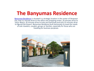 The BAnyumas Residence
