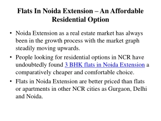 Book  Affordable Flats In Noida Extension In Your Budget