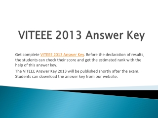 VITEEE 2013 Answer Key and Solutions