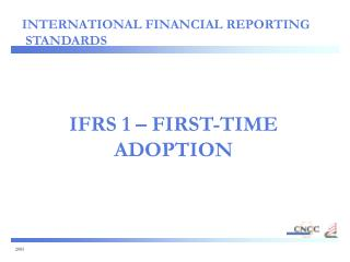 IFRS 1   FIRST-TIME ADOPTION