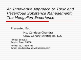 An Innovative Approach to Toxic and Hazardous Substance Management: The Mongolian Experience