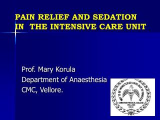 PAIN RELIEF AND SEDATION IN THE INTENSIVE CARE UNIT