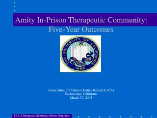 Amity In-Prison Therapeutic Community: Five-Year Outcomes