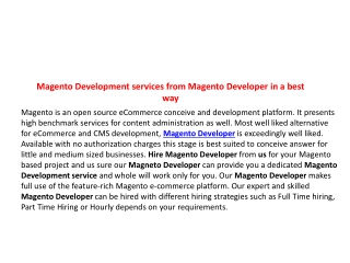 Magento Development services from Magento Developer