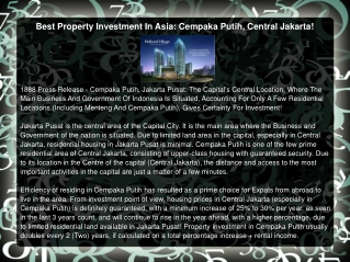 Best Property Investment In Asia: Cempaka Putih, Central Jak
