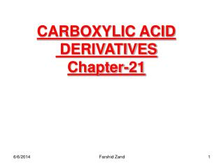 CARBOXYLIC ACID  DERIVATIVES Chapter-21
