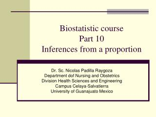 Biostatistic course Part 10 Inferences from a proportion