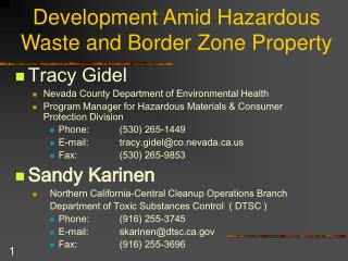 Development Amid Hazardous Waste and Border Zone Property