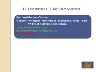 HP Load Runner 11.5 shortcut keys