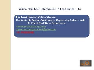 HP load runner 11.5 Vugen main user interface