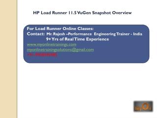 HP Load runner 11.5 snapshot overview