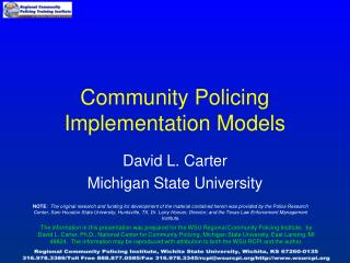 Community Policing Implementation Models