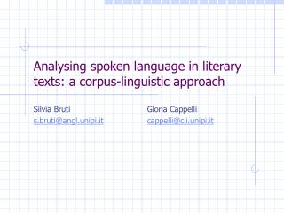 Analysing spoken language in literary texts: a corpus-linguistic ...
