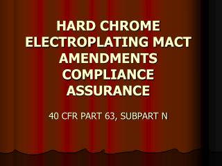 HARD CHROME ELECTROPLATING MACT AMENDMENTS COMPLIANCE ASSURANCE ...