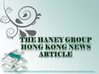 the haney group, Hong Kong firm at core of fraud that sparke