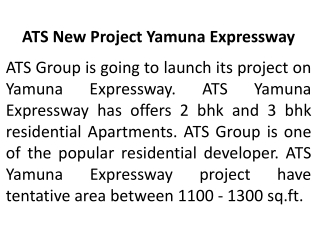 ATS YAMUNA EXPRESSWAY NEW PROJECT CALL-8527790926