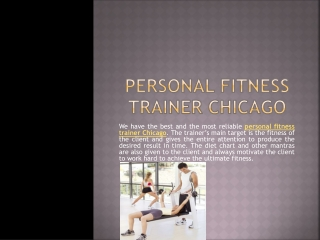 Personal Fitness Trainer Chicago