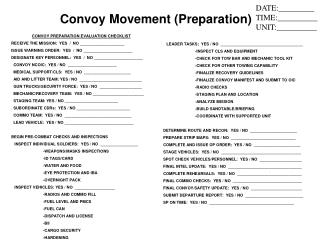 CONVOY PREPARATION EVALUATION CHECKLIST RECEIVE THE MISSION:  YES