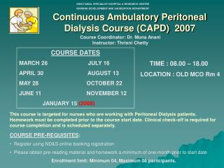 Continuous Ambulatory Peritoneal Dialysis Course CAPD  2007