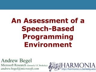 An Assessment of a Speech-Based Programming Environment