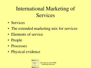 International Marketing of Services