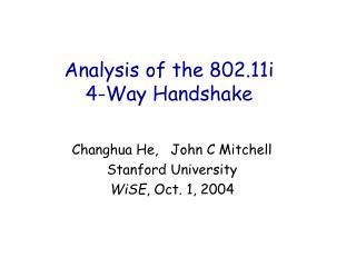 Analysis of the 802.11i 4-Way Handshake