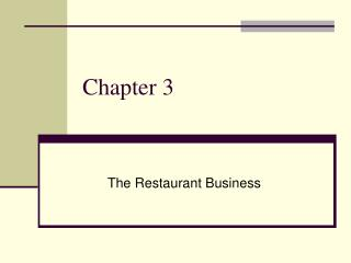 The Restaurant Business