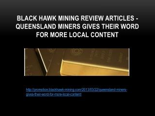 Black hawk mining review articles - Queensland Miners Gives