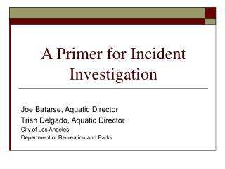 A Primer for Incident Investigation
