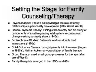Setting the Stage for Family Counseling