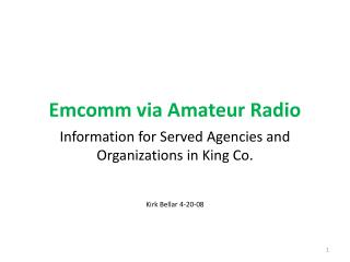 Emcomm via Amateur Radio