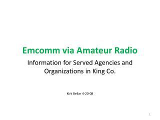 Emcomm via Amateur Radio
