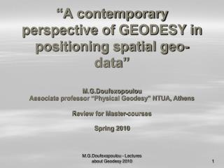 contemporary perspective of GEODESY in positioning spatial geo ...