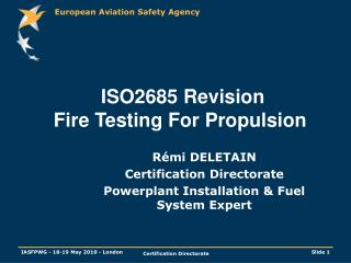 ISO2685 Revision Fire Testing For Propulsion
