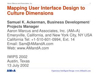 Mapping User Interface Design to Culture Dimensions