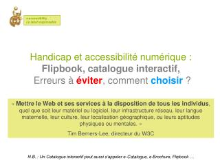 Cr??er un Catalogue interactif accessible - E-accessibility