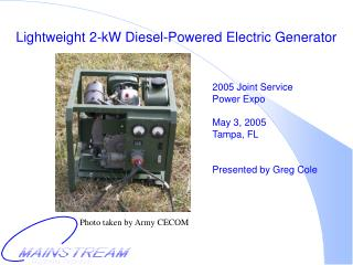 Lightweight 2-kW Diesel-Powered Electric Generator