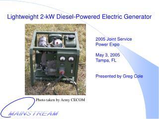 Lightweight 2-kW Diesel-Powered Electric Generator