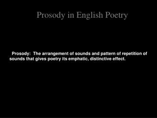 Prosody in English Poetry