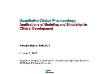 Quantitative Clinical Pharmacology: Applications of Modeling and ...