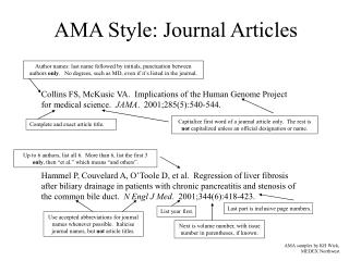 AMA Style: Journal Articles