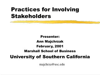 Practices for Involving Stakeholders