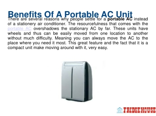 Benefits Of A Portable AC Unit