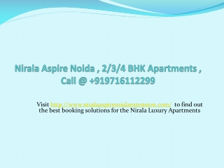 Nirala Aspire Noida Apartments , Call @ +919716112299