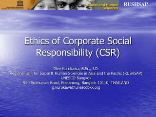Ethics of Corporate Social Responsibility CSR