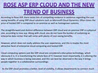 Rose ASP ERP Cloud and the New Trend of Business